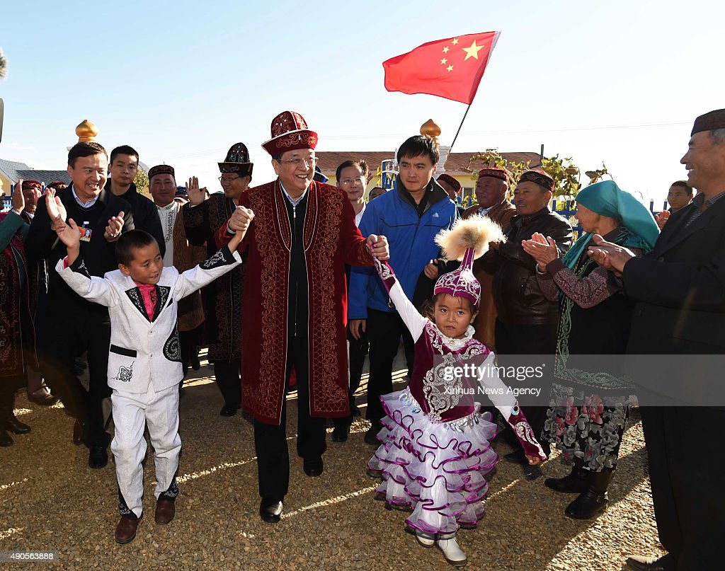 ALTAY Sept 29 2015 Yu Zhengsheng chairman of the National Committee of the Chinese People's Political Consultative Conference visits people of Kazakh...