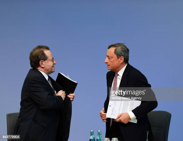 FRANKFURT Sept 7 2017 The European Central Bank President Mario Draghi and Vice President Vitor Constancio attend a press conference at the ECB...