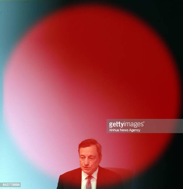 FRANKFURT Sept 7 2017 The European Central Bank President Mario Draghi attends a press conference at the ECB headquarters in Frankfurt Germany on...