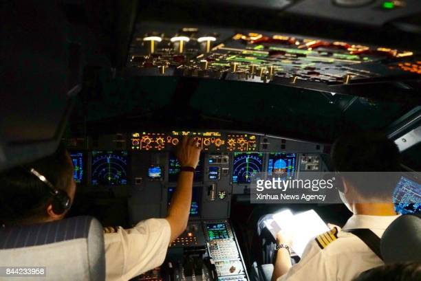BEIJING Sept 8 2017 Captains Shang Feng and Qu Weicheng from China Eastern Airlines fly an A320 to carry out a test flight under circumstance of low...