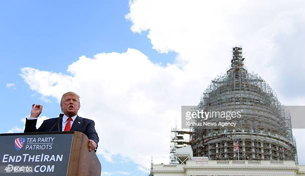 C Sept 9 2015 US Republican presidential candidate Donald Trump speaks during 'Stop the Iran Deal' rally at West Lawn of the Capitol in Washington DC...