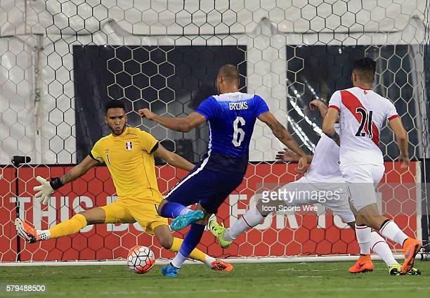 John Brooks of the USAMNT shoots on Pedro Gallese of Peru during an international friendly match at RFK Stadium in Washington DC USAMNT won 21