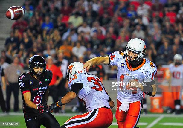 Travis Lulay looks to throw the ball during the Ottawa RedBlacks game versus the BC Lions at TD Place Stadium in Ottawa ON Canada RedBlacks lead 65...