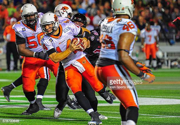 Travis Lulay makes a run with the ball during the Ottawa RedBlacks game versus the BC Lions at TD Place Stadium in Ottawa ON Canada RedBlacks lead 65...