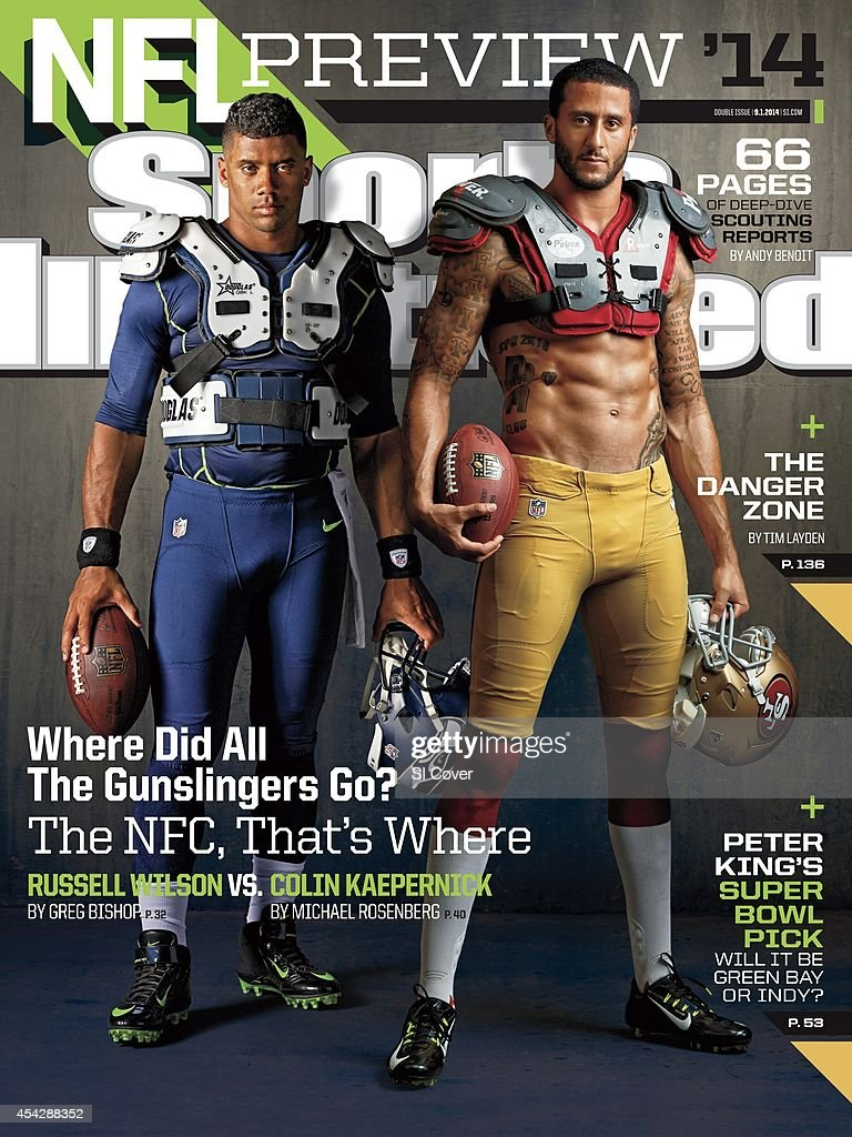 September 1 2014 Sports Illustrated Cover NFL Season Preview Portrait of Seattle Seahawks QB Russell Wilson and San Francisco 49ers QB Colin...