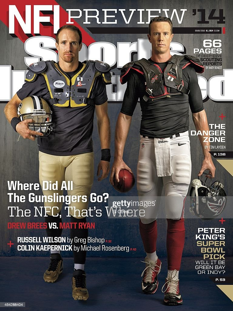 September 1 2014 Sports Illustrated Cover NFL Season Preview Portrait of New Orleans Saints QB Drew Brees and Atlanta Falcons QB Matt Ryan during...