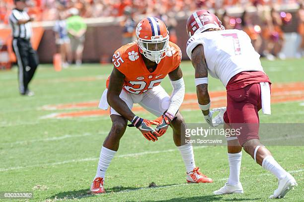 Clemson defensive back Cordrea Tankersley covers Troys wide receiver Hiram Velez during 1st half action between the Clemson Tigers and the Troy...