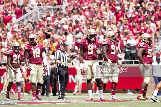 Florida State defensive players DB Trey Marshall LB Ro'Derrick Hoskins DE Josh Sweat DT Derrick Nnadi and DT Fredrick Jones during the game between...