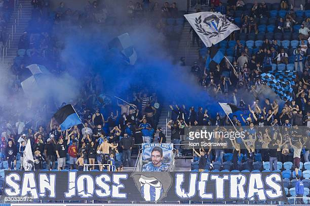 The San Jose cheering section sets off smoke bombs and cheers during the Major League Soccer game between the Seattle Sounders and the San Jose...