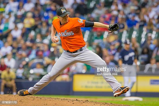 Miami Marlins Pitcher Carter Capps [9796] throws a pitch during a game between the Miami Marlines and the Milwaukee Brewers at Miller Park in...