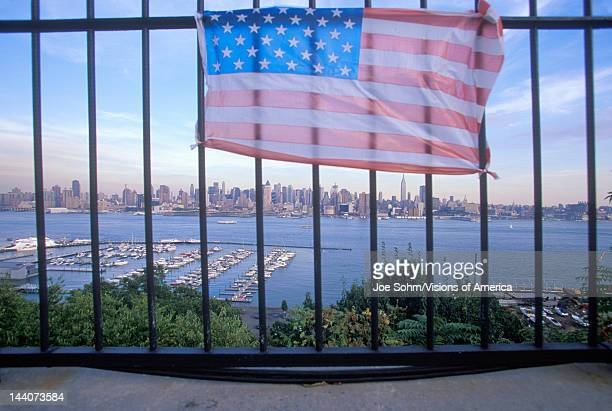 September 11 2001 Memorial on rooftop looking over Weehawken New Jersey New York City NY