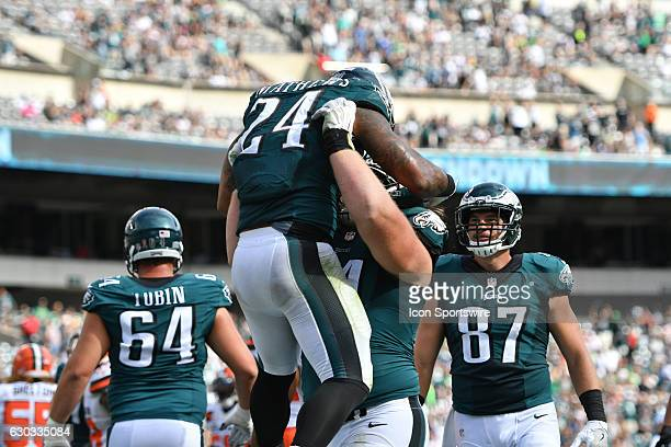 Philadelphia Eagles Defensive Tackle Beau Allen [12202] lifts Philadelphia Eagles Running Back Ryan Mathews [9040] after his touchdown during a...