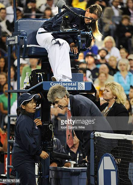 Line judge speaks to Referee Brian Early with chair umpire Louise Engzel and Grand Slam Supervisor Donna Kelso in the background report Serena...