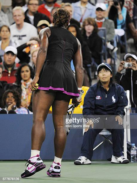 Serena Williams of the USA shouting at line judge who called a foot fault when Williams was serving in the second set at 1530 56 with Clijsters up...