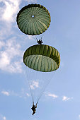 September 12, 2010 - U.S. Army Soldiers from the 82nd Airborne Division parachute down after jumping from a C-130 Hercules during Airborne Operations.