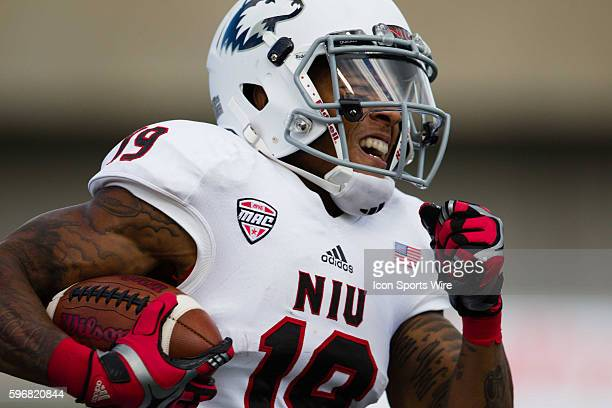Northern Illinois wide receiver Kenny Golladay gains yardage after a pass reception during the Huskies game against Murray State at Brigham Field in...