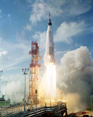 September 13, 1961 - View of the launch of the Mercury-Atlas 4 spacecraft from Cape Canaveral, Florida.