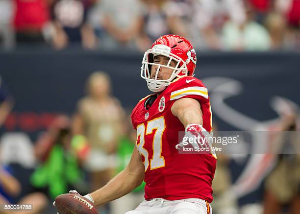 Kansas City Chiefs Tight End Travis Kelce [18649] celebrates after making a touchdown during the NFL game between the Kansas City Chiefs and Houston...