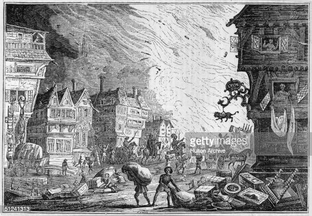 September 1666 As the flames rage ever closer people try to save furniture and other valuable possesions during the Great Fire of London