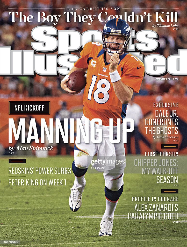 September 17, 2012 Sports Illustrated Cover: Denver Broncos QB Peyton Manning (18) in action, rushing vs Pittsburgh Steelers at Sports Authority Field at Mile High. Robert Beck F150 )