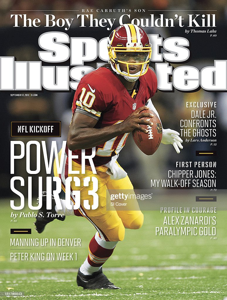 September 17, 2012 Sports Illustrated Cover: Washington Redskins QB Robert Griffin III (10) in action vs New Orleans Saints at Mercedes Benz Superdome. Al Tielemans F425 )