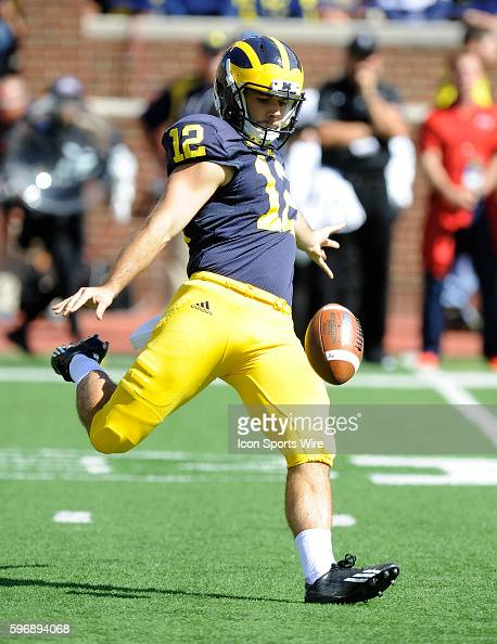 Saturday September 19 2015 Michigan punter Blake O'Neill boots a fourth quarter punt during UM's 287 win over UNLV Saturday at Michigan Stadium in...
