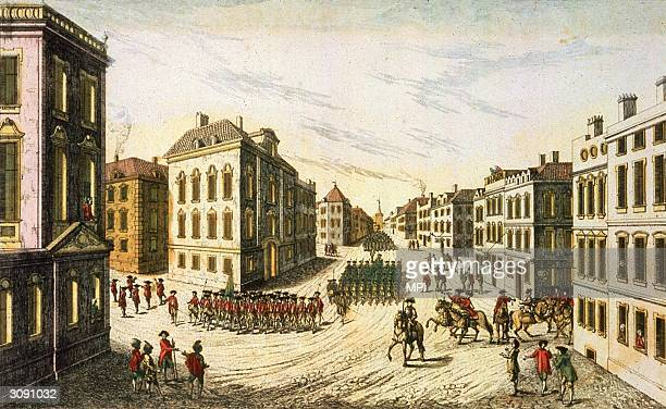 BritishHessian troops under the command of General Howe parading through New York as they took over the city during the American War of Independence...