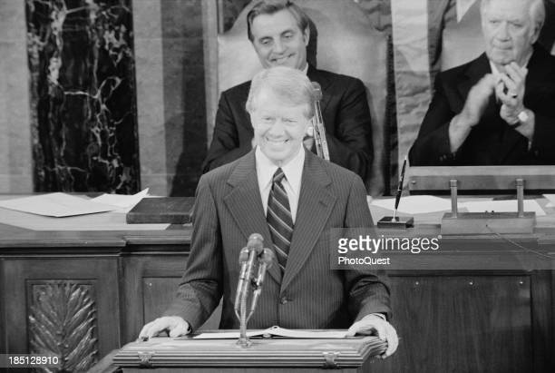 September 18 1978 President Jimmy Carter addresses a Joint Session of Congress announcing the results of the Camp David Accords with Vice President...