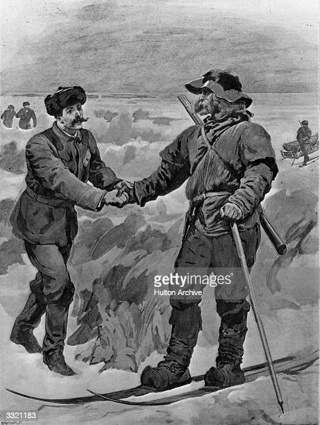 Norwegian explorer Fridtjof Nansen shaking hands with Mr Jackson a rival explorer in the Arctic Original Publication The Graphic The Meeting of Dr...