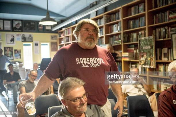 Rowan Taylor in a 'Rose Bowl Was Right' shirt asks a question during a QA at Steve Robertson's book signing The shirt references a nickname that...