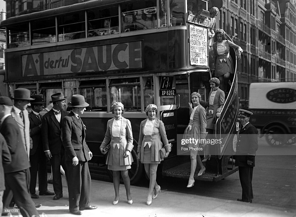 A group of Mullard Girls making their way to the Wireless Exhibition at Olympia London