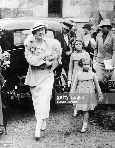 The Duchess of York later Queen Elizabeth the Queen Mother with her daughters Princess Margaret Rose and Princess Elizabeth later Queen Elizabeth II...