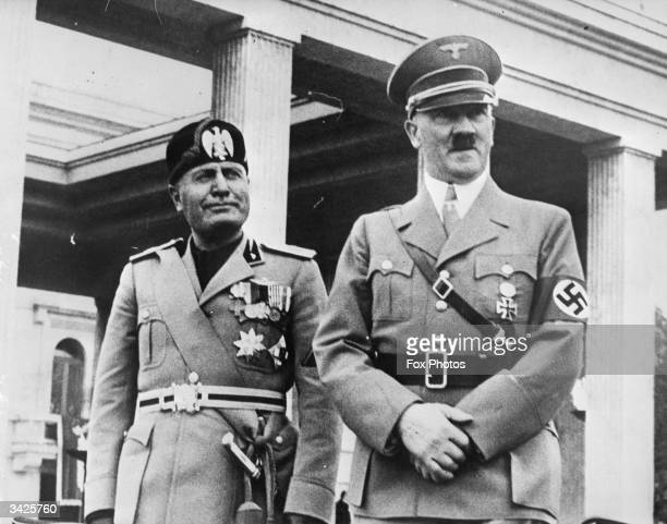 Italian fascist dictator Benito Mussolini and Adolf Hitler the leader of Nazi Germany in Munich