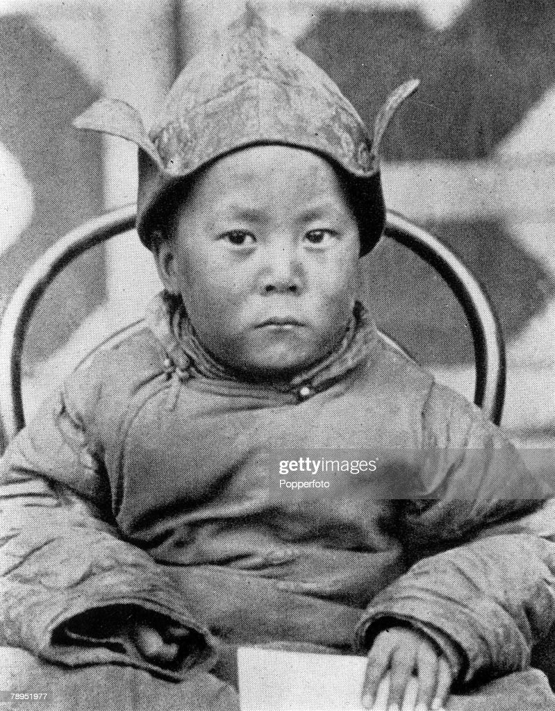 September 1939, Kumbum, Tibet, A picture of the 14th Dalai Lama (1935-), called Tanchu, the Spiritual and temporal head of Tibet, and Buddhist leader, who won the Nobel Peace Prize in 1989