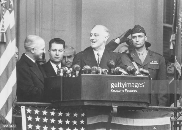 American president Franklin Delano Roosevelt speaking on a platform during his fourth presidential inauguration