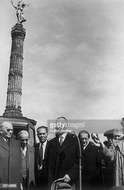Konrad Adenauer makes a speech in Berlin after being elected Chancellor of the Federal Republic of Germany
