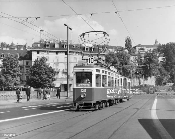 An tram navigates the streets of Zurich
