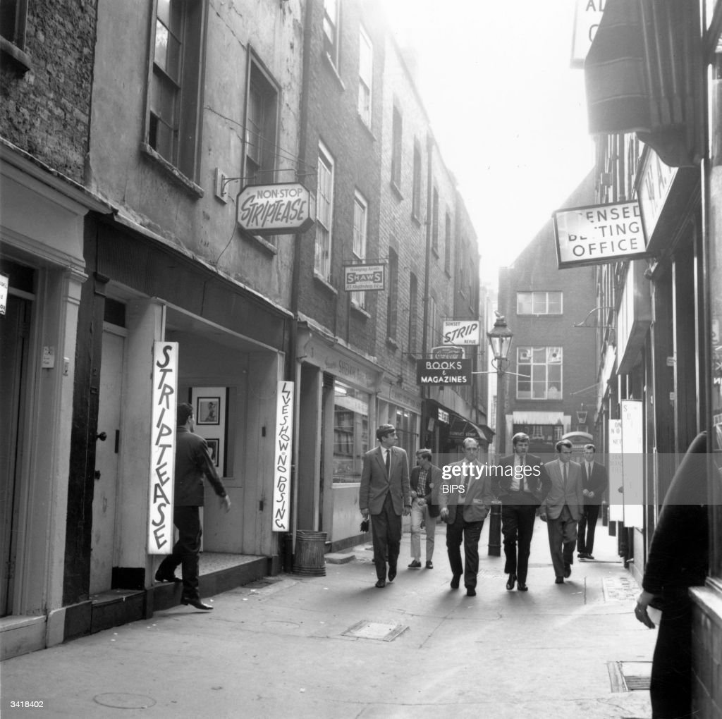 A group of young men out on the prowl among the srip clubs in London's Soho district.
