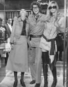 Fashion designer Yves St Laurent opening his shop 'Rive Gauche' in Bond Street London with fashion models Loulou de la Falaise and Betty Catroux