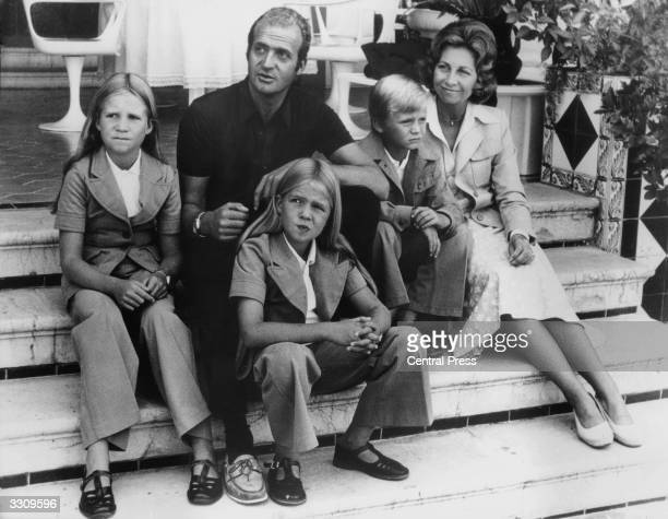 Prince Juan Carlos who became King after Franco's death on holiday with his family in the Balaeric Islands