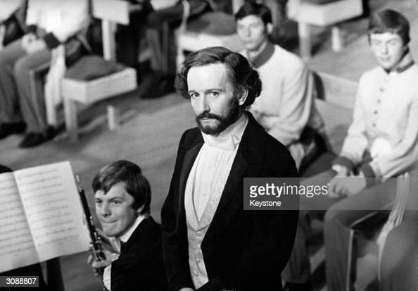 British actor Ronald Pickup in Cremona to portray composer Giuseppe Verdi conducting 'Nabucco' at La Scala in 1842