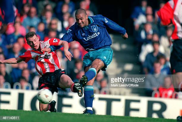 17 September 1994 Premiership Southampton FC v Nottingham Forest FC Stan Collymore of Nottingham Forest beats the Southampton defence to score a goal