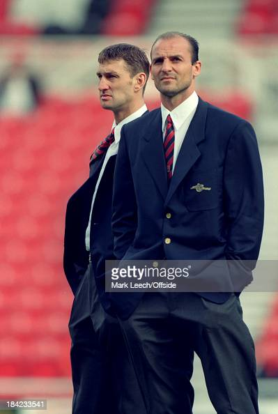 21 September 1996 English Football Premier League Middlesbrough v Arsenal Tony Adams and Steve Bould of Arsenal take in the sights of the Riverside...