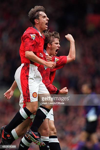 13 September 1997 FA Premiership Manchester United v West Ham United David Beckham and Gary Neville celebrate a United goal