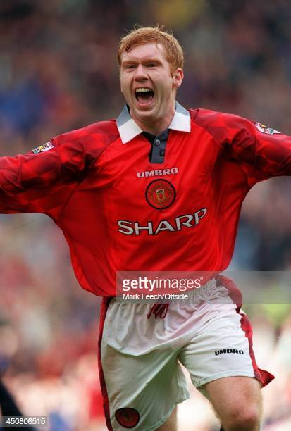 13 September 1997 FA Premiership Manchester United v West Ham United Paul Scholes celebrates his goal