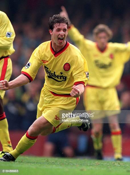 27 September 1997 FA Premiership West Ham United v Liverpool Robbie Fowler of Liverpool celebrates scoring for Liverpool