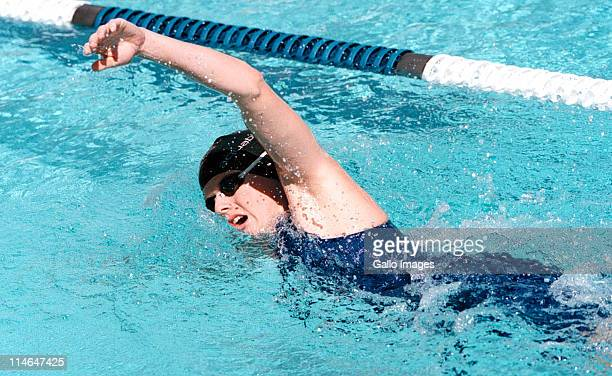 1 September 1999 South African swimmer Charlene Wittstock swimming freestyle in the Ellis Park pool