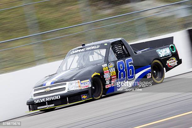 Brandon Brown NASCAR Camping World Truck Series driver of the Dominion Recycling Chevy truck during the NASCAR Camping World Truck Series UNOH 175 at...