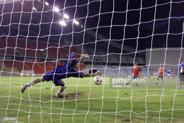 The Iraq Players conducting a shooting drills during training at the Rajamangala Stadium Bangkok Thailand ahead of the 2002 FIFA World Cup Qualifier...