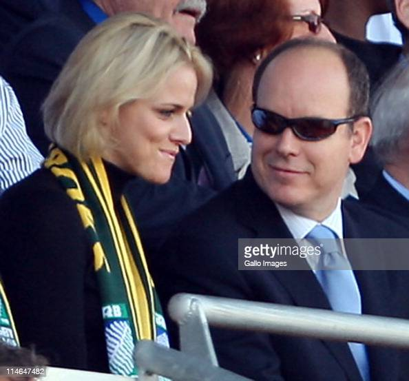 7 September 2007 Marseille Rugby World Cup Prince Albert of Monaco watches the Springboks in action against the USA with him is his girlfriend SA...